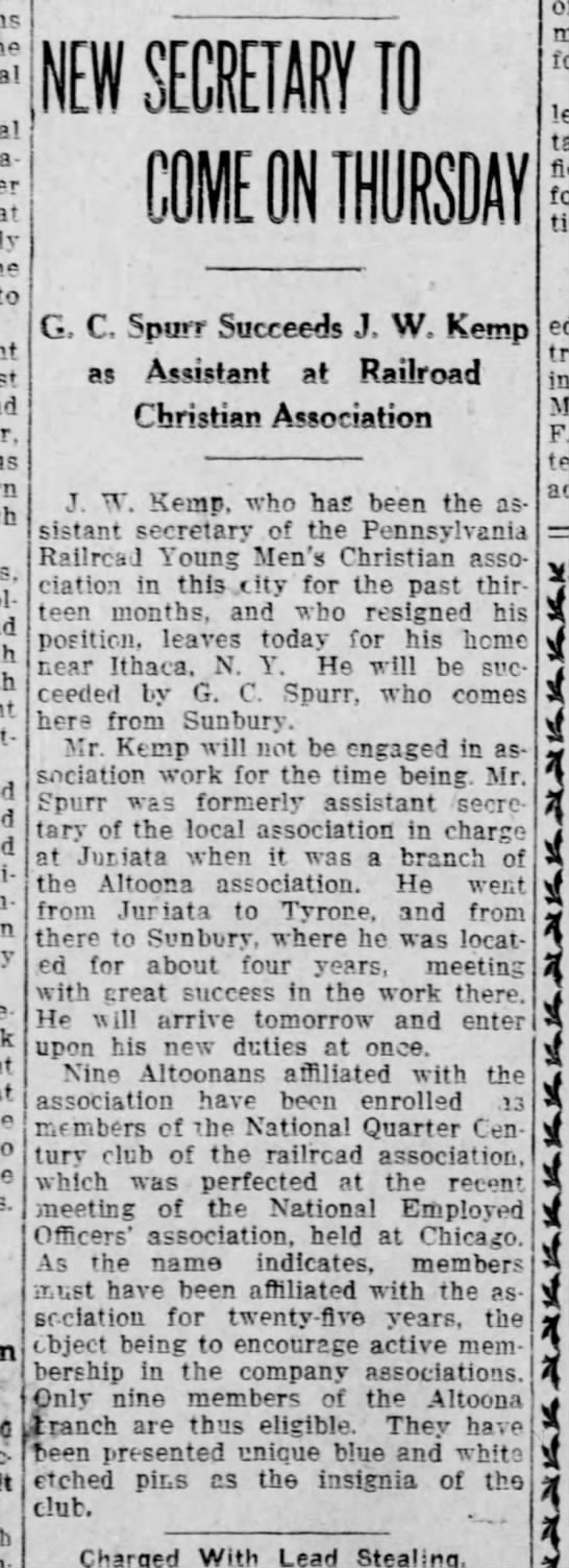 G C Spurr - Altoona YMCA Sept 1914 -
