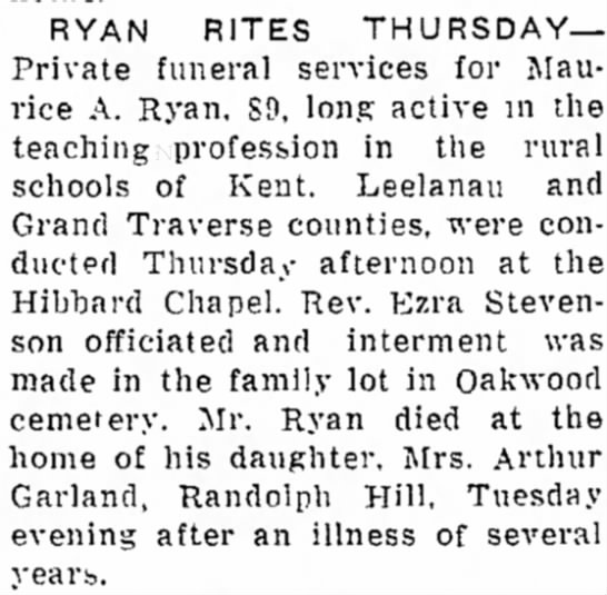 Maurice A. Ryan's Funeral -