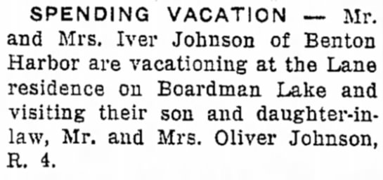 Johnson, Iver Me & Mrs vacation on Boardman Lake-Traverse City Record-Eagle, 12 July 1949, Page 3 -