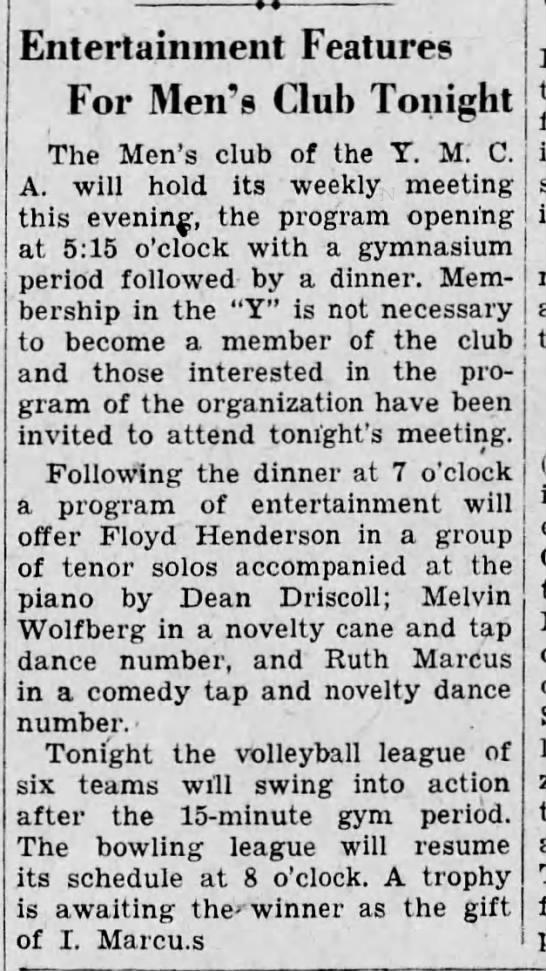 Melvin taps at YMCA meeting-16 Jan 1933 -