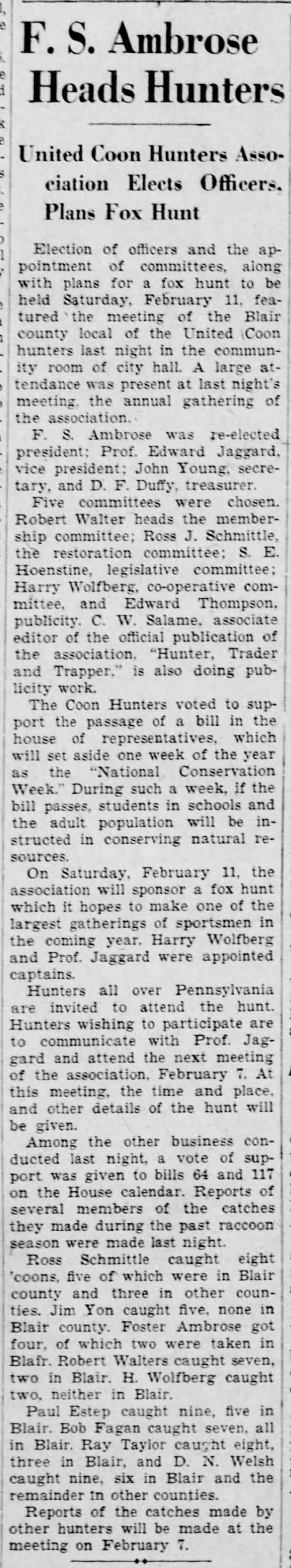Harry involved in fox hunt-24 Jan 1933 -
