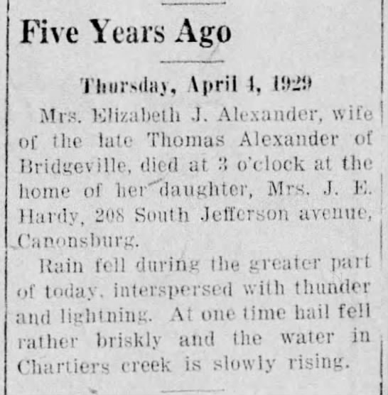 Obit-Alexander,ElizJ-4 April 1934 -