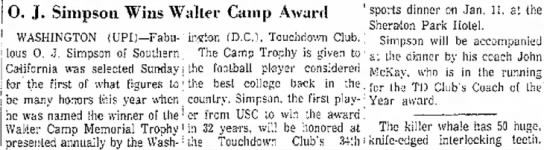 O. J. Simpson Wins Walter Camp Award - J. Simpson Wins Walter Camp Award WASHINGTON...