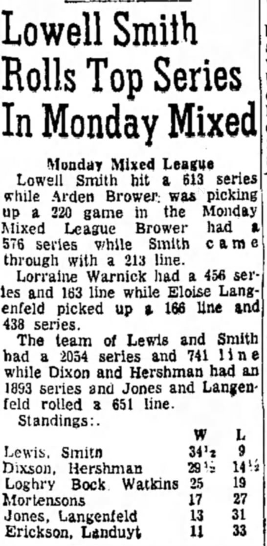 Eloise Langefeld Bowling - p. 9 July 11 1961 Mitchell SD Daily Republic -