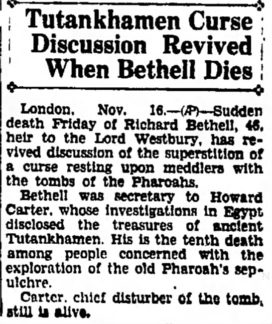 Tutankhamen Curse Discussion Revived When Bethell Dies -