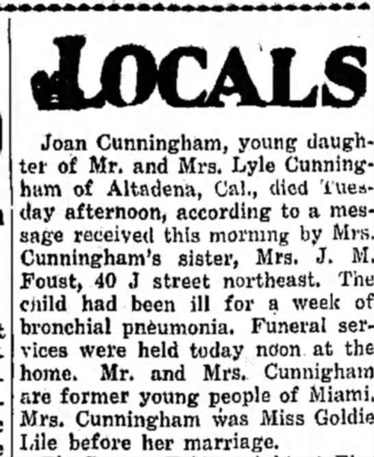 Joan Cunningham death - daughter of Joseph Lyle Cunningham and Goldie Lile -