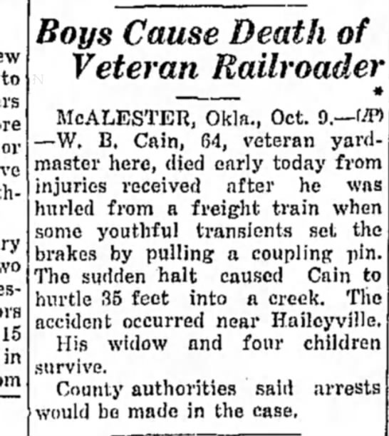 - to 15 in Boys Cause Death of Veteran Railroader...