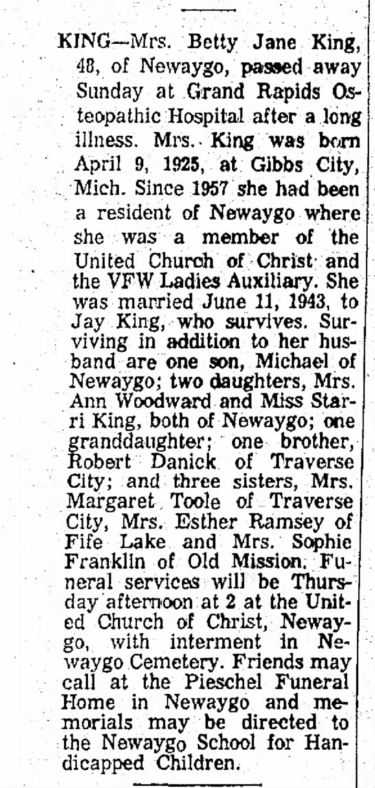 Donick King Betty Jane obit Dec 1973 -