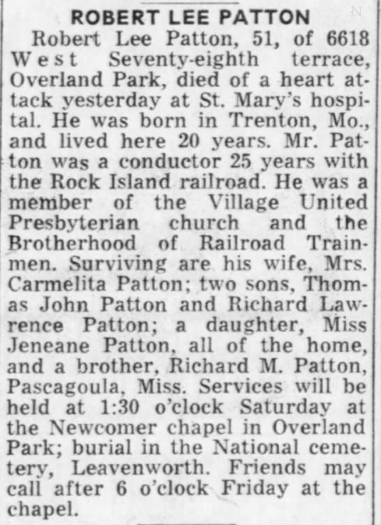 Pepper's Great Uncle Robert Lee Patton died at 52. He was the brother of Grandma Beatrice Patton -