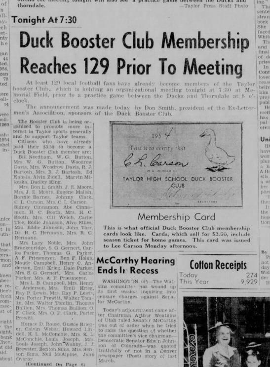 Parkers join Duck Booster Club at its beginning August 31, 1954 -