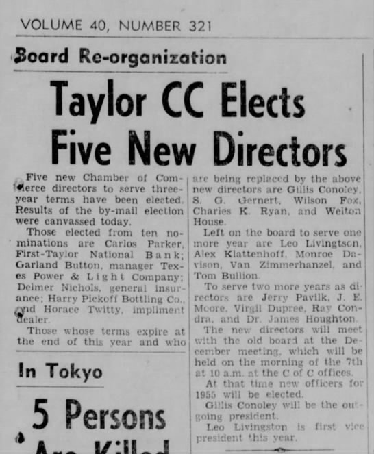 Carlos Parker elected to Chamber of Commerce November 29, 1954 -