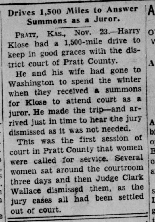 Harry Klose; juror -
