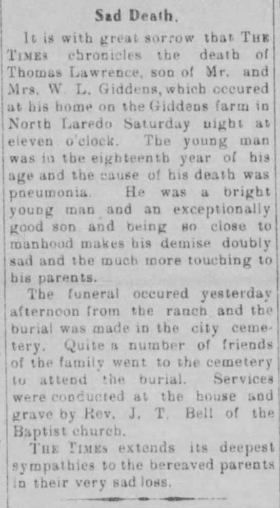 Thomas Lawrence Giddens obit. Laredo Weekly Times, March 5, 1911 -