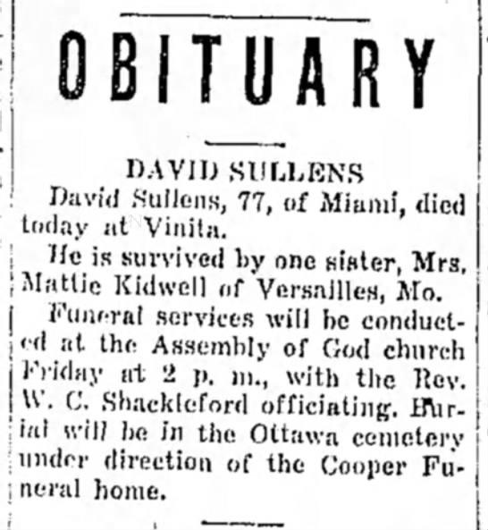 Ottawa cemetery obit..Sullens, David -