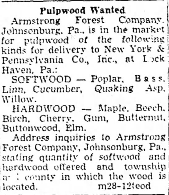 Armstrong Forest Company Hardwoods 1936 -