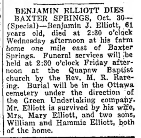 Ottawa cemetery obit..Elliott, ben -
