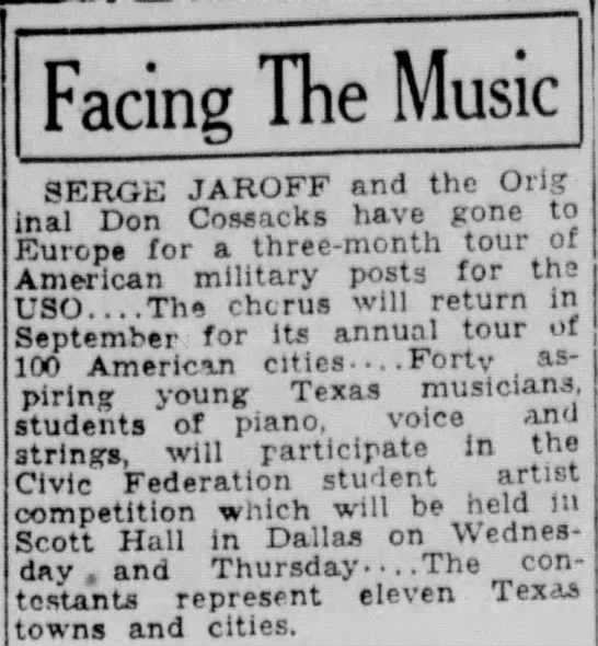 Jaroff choir on the way to Europe post war for USO tour -