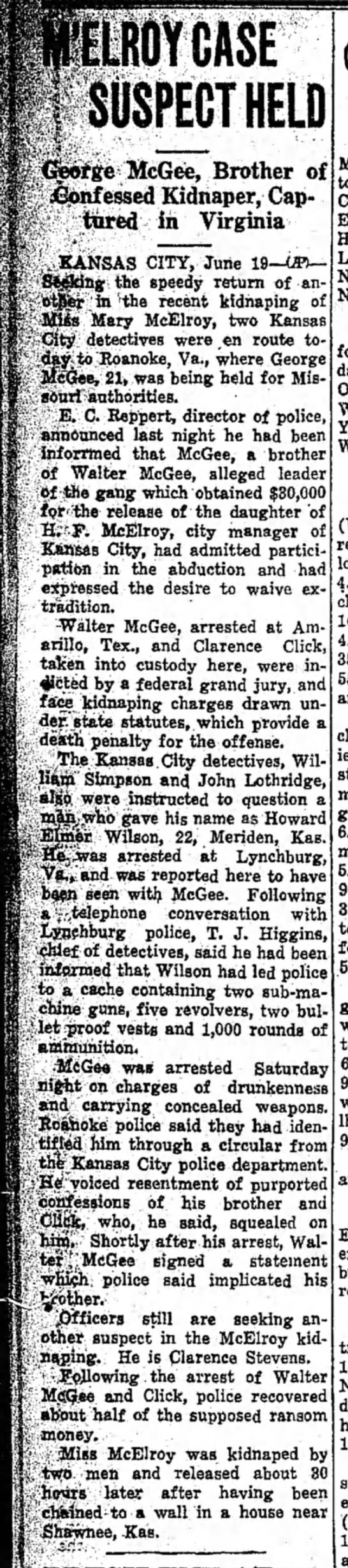 - .ROY CASE SUSPECT HELD >rge McGee, Brother of...