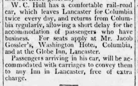 New railroad service between Lancaster and Columbia - 1834 -