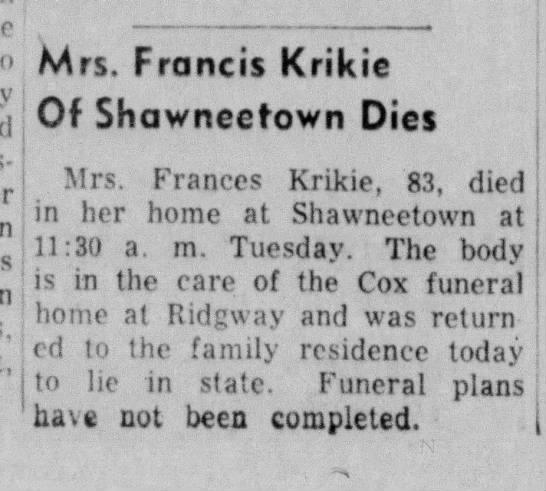 Mrs Francis Krikie -