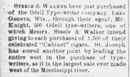 steele and walker purchase odell typewriter -