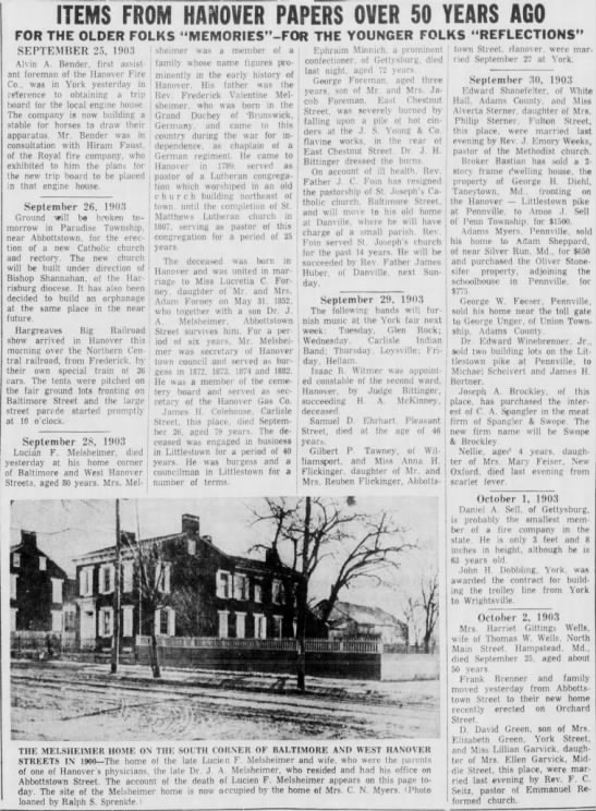 Lucien Mel's Obit - ITEMS FROM HANOVER PAPERS OVER SO YEARS AGO FOR...