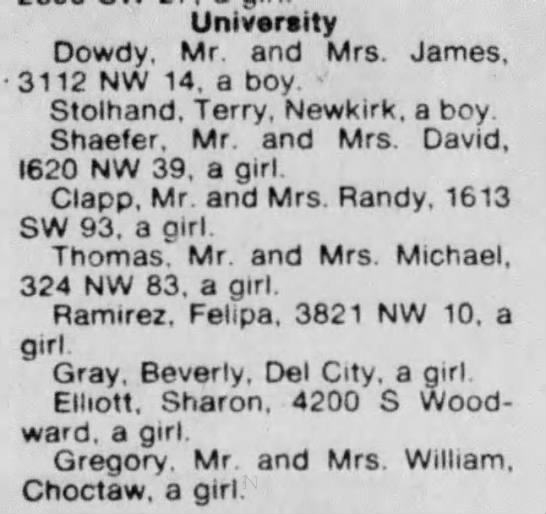 Found in list of birth anouncements August 11, 1979 in The Oklahoman