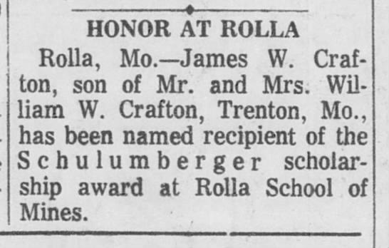 James W Crafton - scholarship -