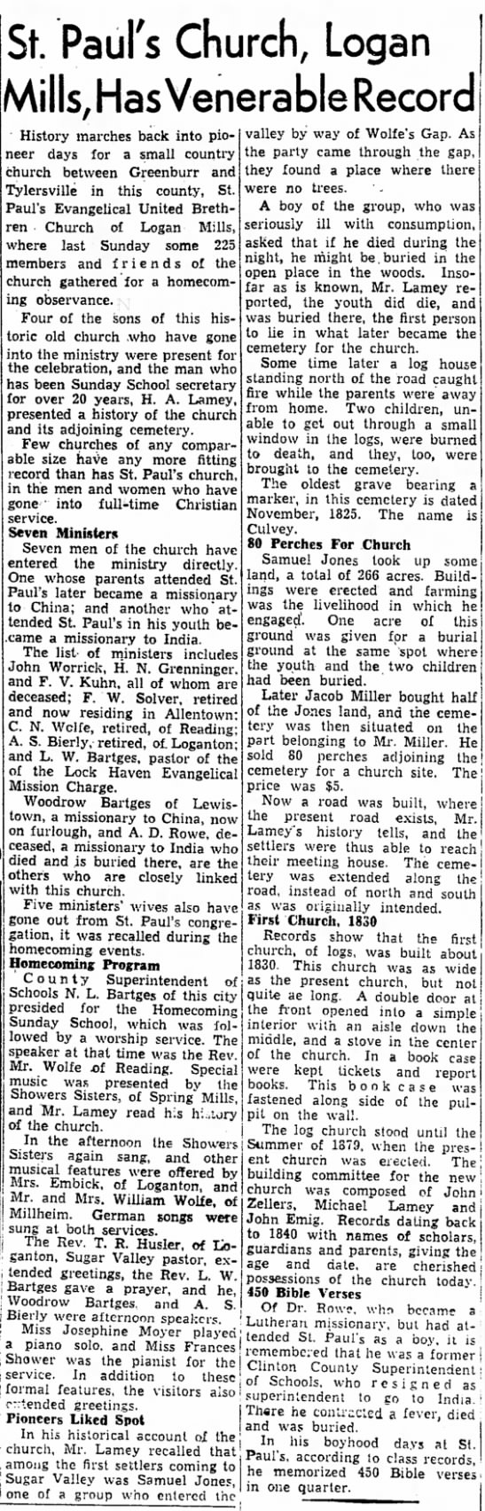 Logan Mills Church history Aug 23 1947 - St. Paul's Church, Logan Mills, Has Venerable...