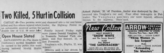 Castaic Collison 1958 - James Vaughn killed. -