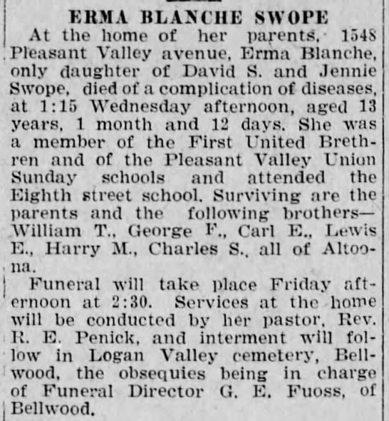 Erma B Shope_Altoona_Tribune_12 Jan 1922 -