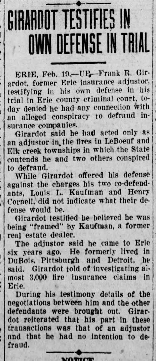 Girardot Testifies in Own Defense in Trial - The News-Herald (Franklin, PA) - 19 Feb 1932 -