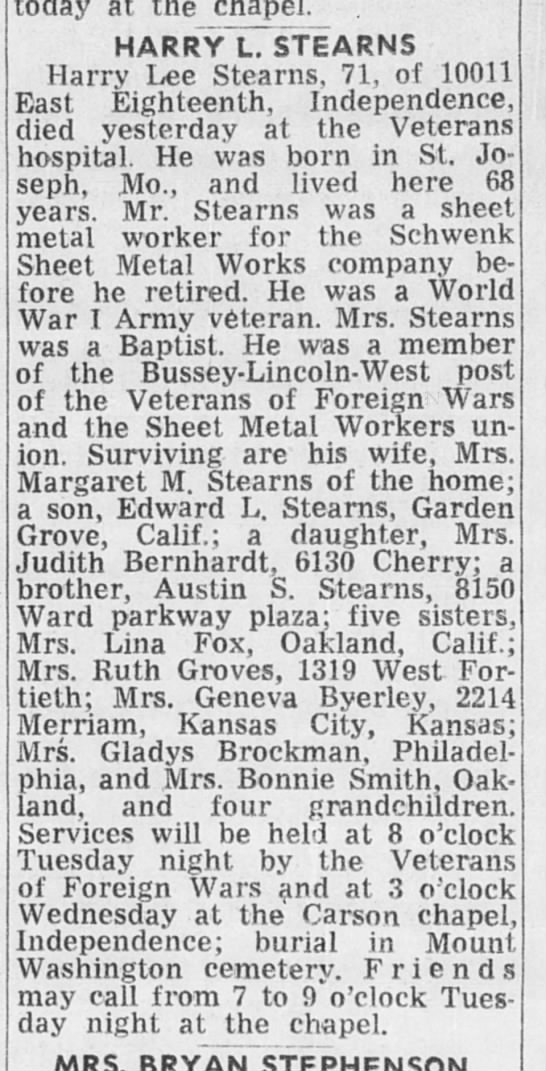 The Kansas City Times (Kansas City, Missouri) 9 Dec 1968 Monday page 20 Harry Lee Stearns -