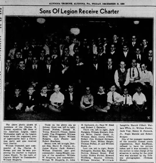 Melvin pictured in Sons of the American Legion-21 Dec 1934 -