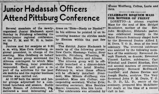 Minnie goes to Pgh as part of Jr. Hadassah-22 Jan 1935 -