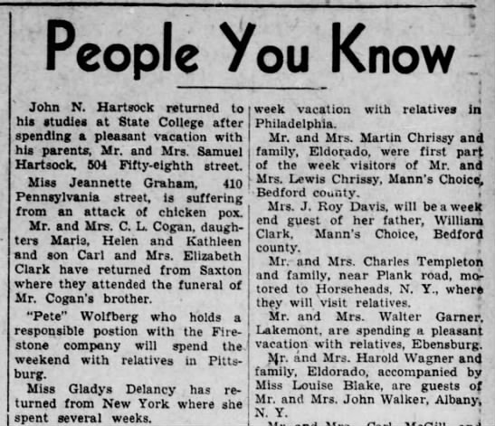 Pete spends time with relatives in Pgh-8 March 1935 -