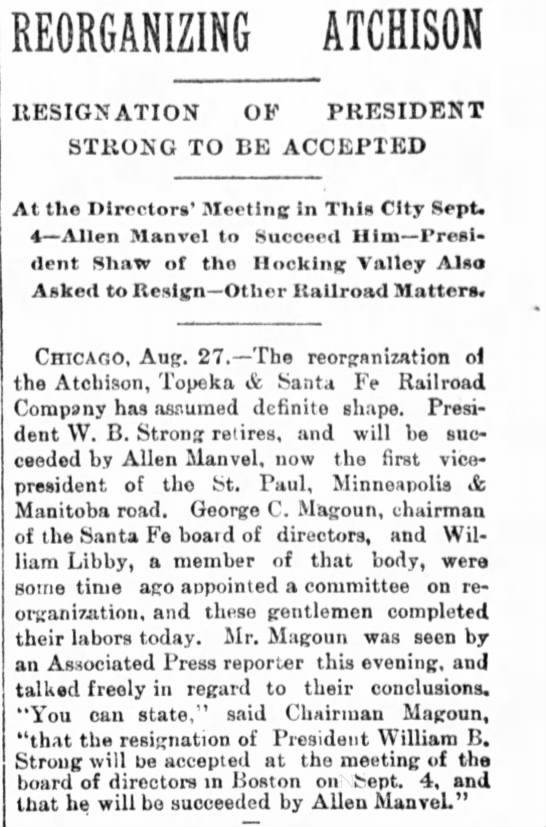 Allen Manvel President of Atchison, Topeka & Santa Fe Railroad. August 1889 -