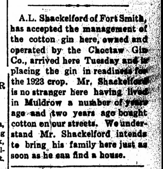 A.L. Shackelford accepts management position of cotton gin -