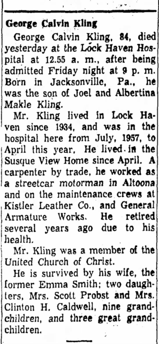 George Calvin Kling Obituary The Express Lock Haven 21 Jul 1958 Newspapers Com Just look for the 'free cancellation' message during your hotel search. newspapers com