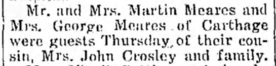 Meares, Martin and George visiting Mrs John Crosley Miami Daily News Record 7Sep1930 Oklahoma -