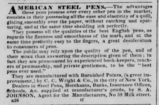 1842 - C.C. Wright American steel pens -