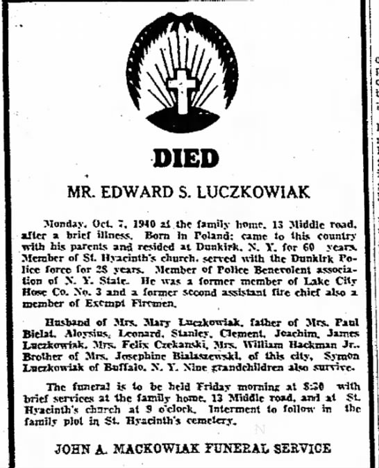 Edward Lucczkowiak death -