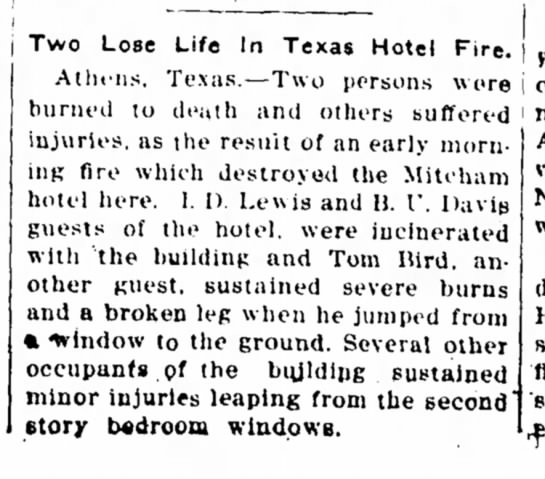 Fort Gibson New Era page 2 col. 3 Fort Gibson, Oklahoma, May 5, 1915 - Two Lose Life In Texas Hotel Fire. Athens,...