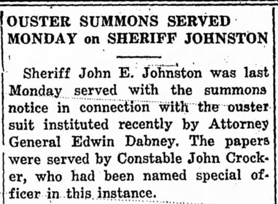 John Crocker serves summons -