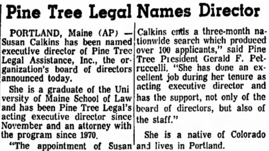Susan W. Calkins named executive director of Pine Tree Legal Assistance. -