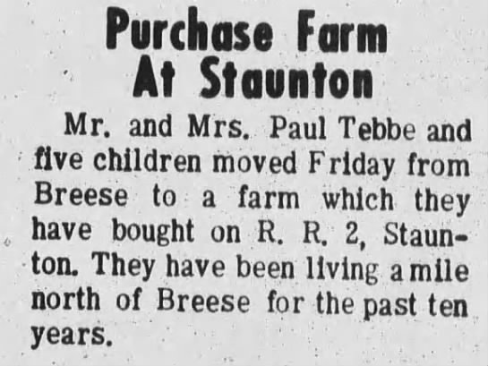 Tebbe Family Purchases Farm at Staunton -
