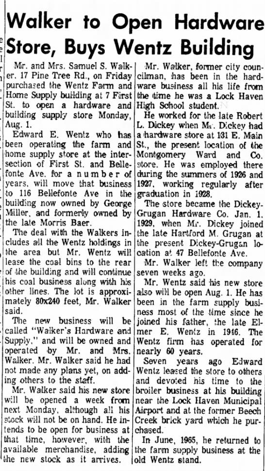 - Walker to Open Hardware Store, Buys Wentz...