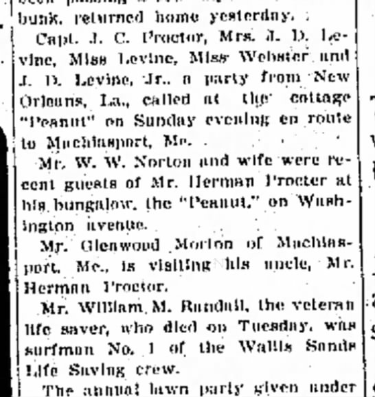 portsmouth herald 07/17/1913 - bunk. returned homo yesterday, Capt- .1. C....