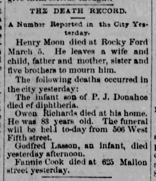 Spokane Death Record -