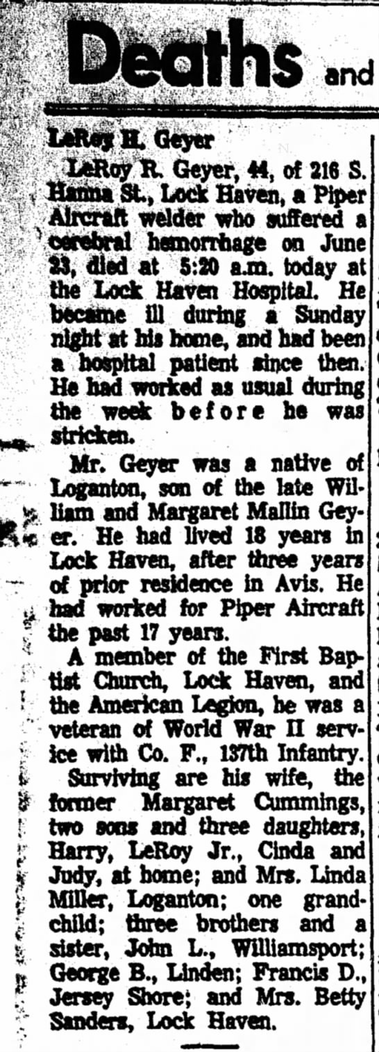 Geyer Leroy R Obituary The Express Lock Haven Pa 15 Jul 1969 P4 Newspapers Com Local news and information from the lock haven express. newspapers com